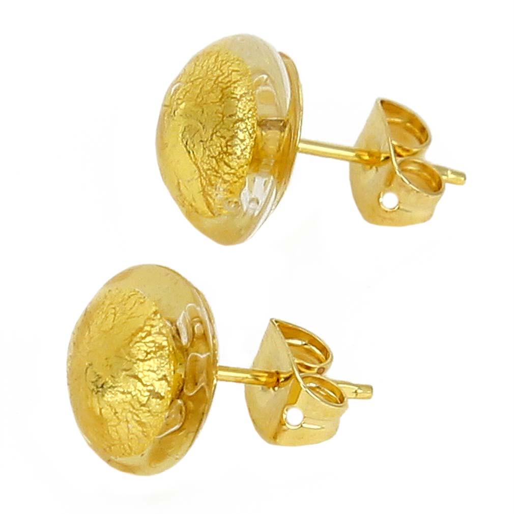 Murano Button Stud Earrings - Sunshine Gold