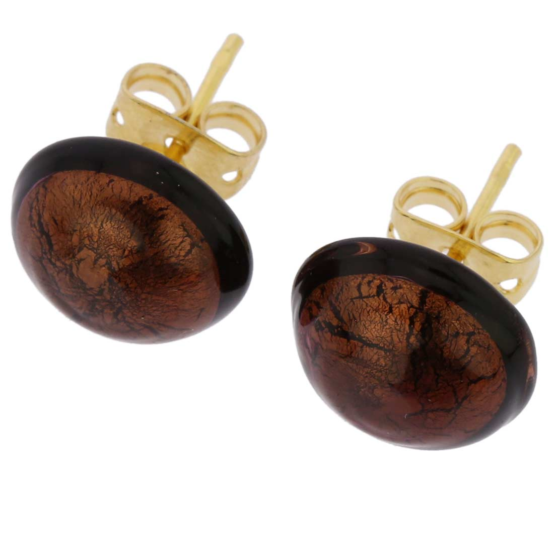 Murano Button Stud Earrings - Amethyst Gold