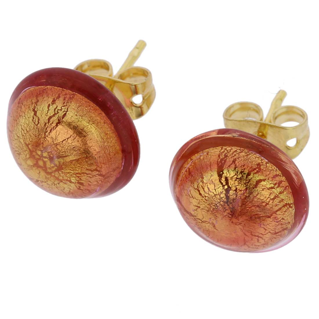 Murano Button Stud Earrings - Purple Gold