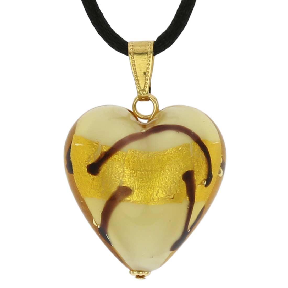 Murano Heart Pendant - Ivory Gold