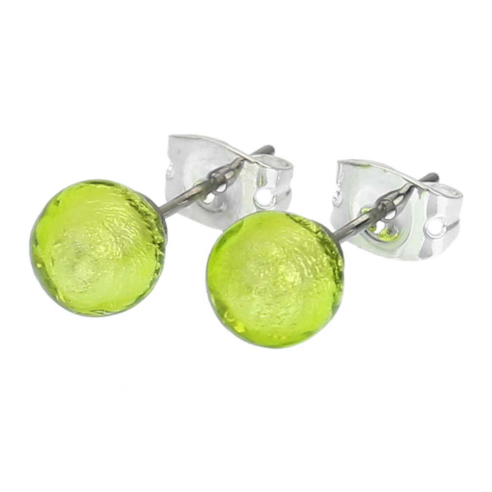 Murano Tiny Stud Earrings - Apple Green