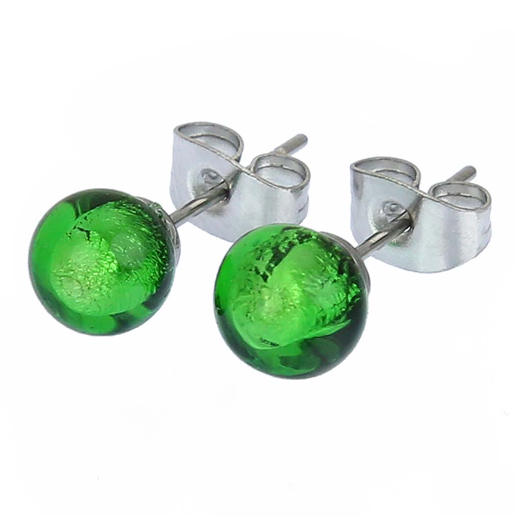 Murano Tiny Stud Earrings - Emerald Green