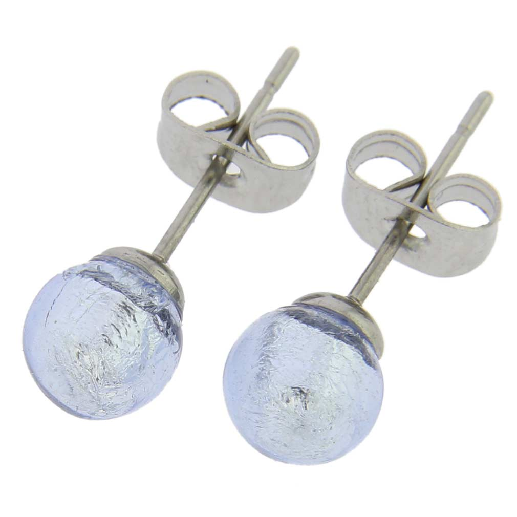 Murano Tiny Stud Earrings - Silver Ice