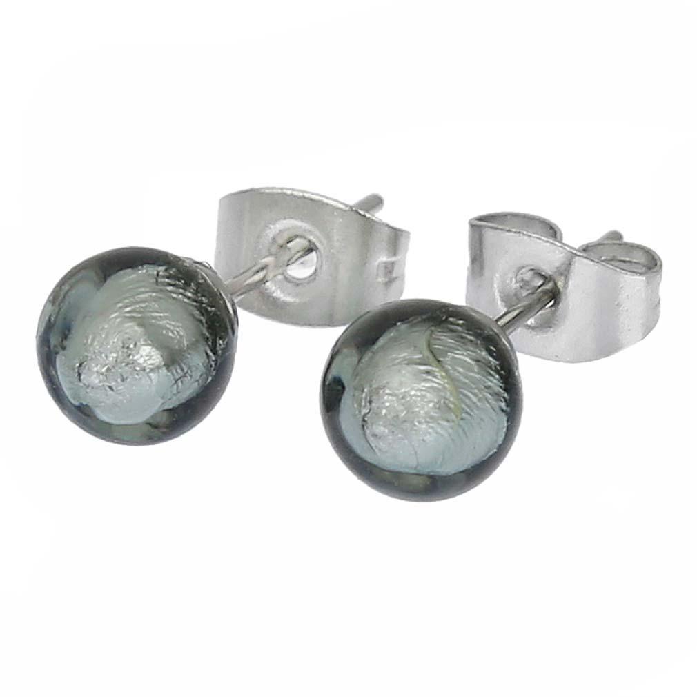 Murano Tiny Stud Earrings - Silver Grey