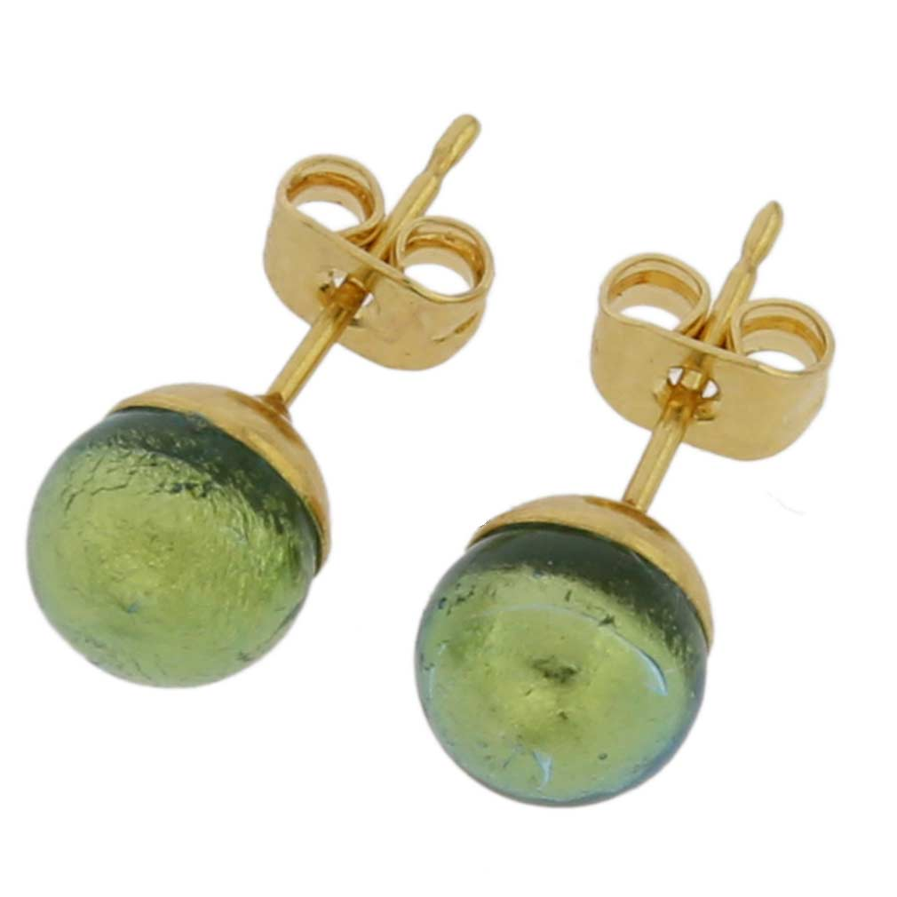 Murano Tiny Stud Earrings - Golden Aqua