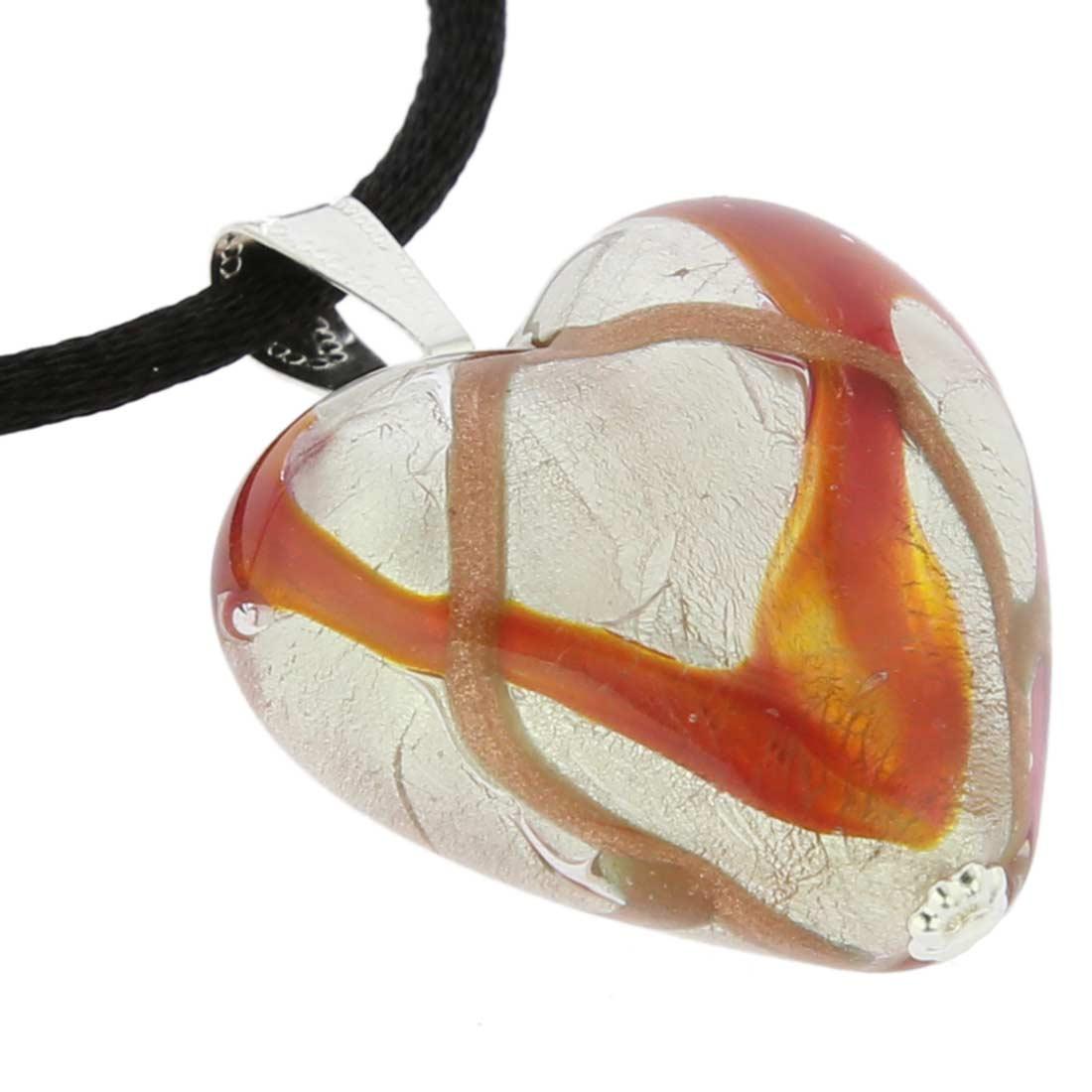 Murano Heart Pendant - Amber Waves Silver