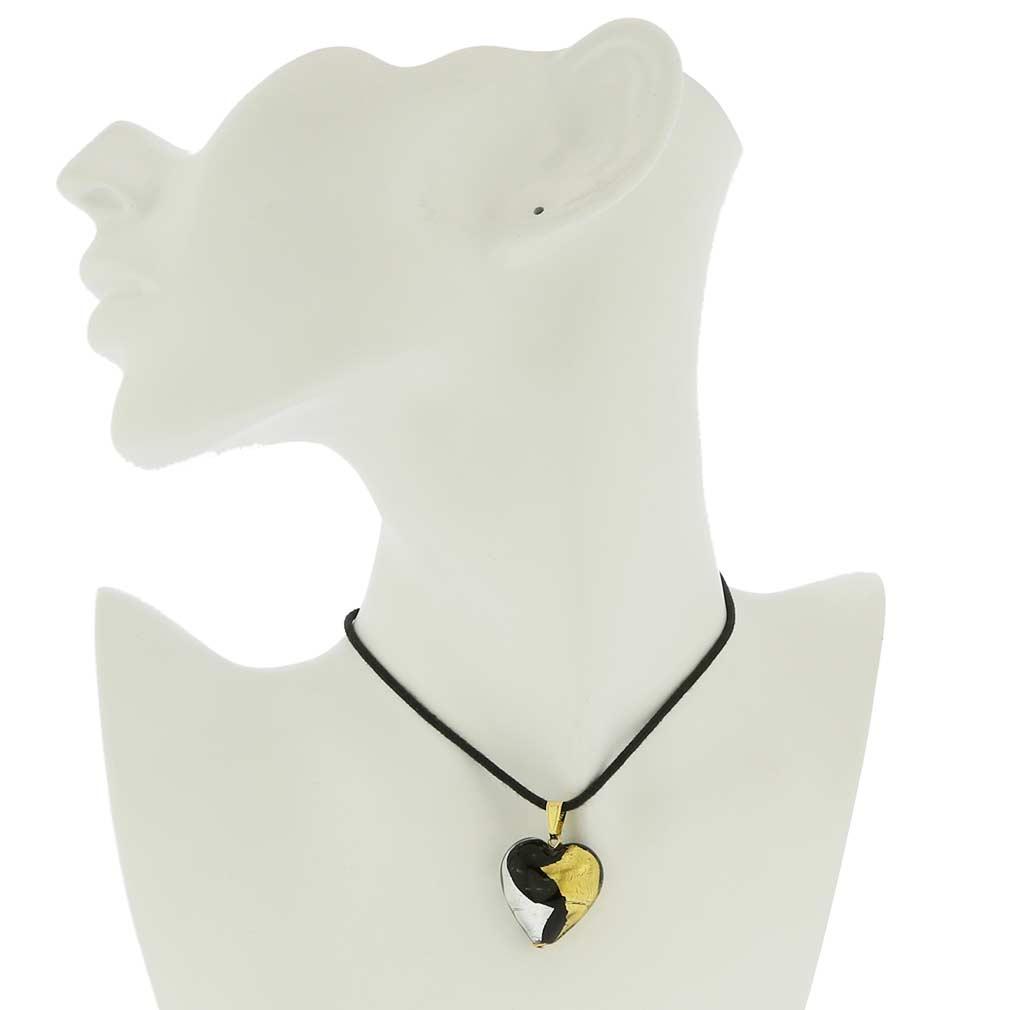 Murano Heart Pendant - Gold and Silver