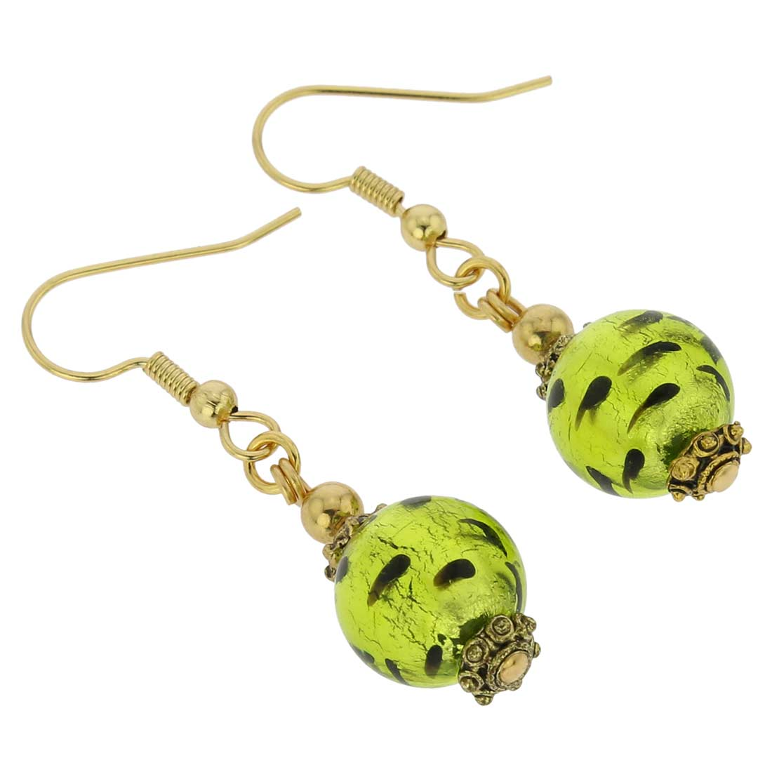 Antico Tesoro Balls Earrings - Spotted Green