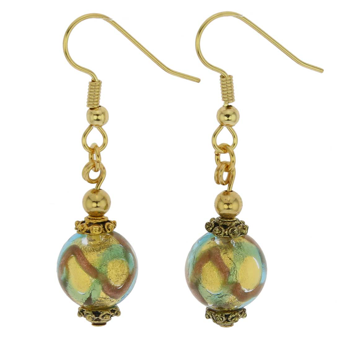 Antico Tesoro Balls Earrings - Gold and Aqua