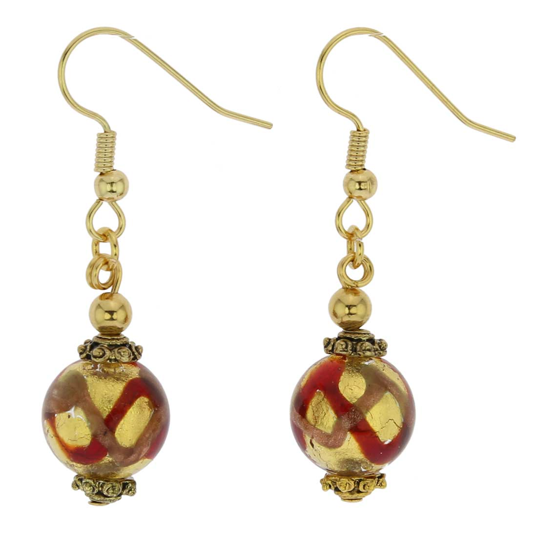 Antico Tesoro Balls Earrings - Red Waves Gold
