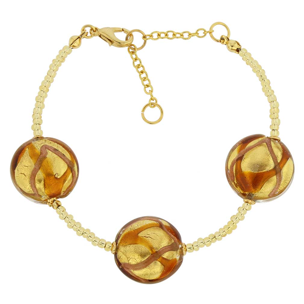 Royal Murano Bracelet - Topaz Waves Gold