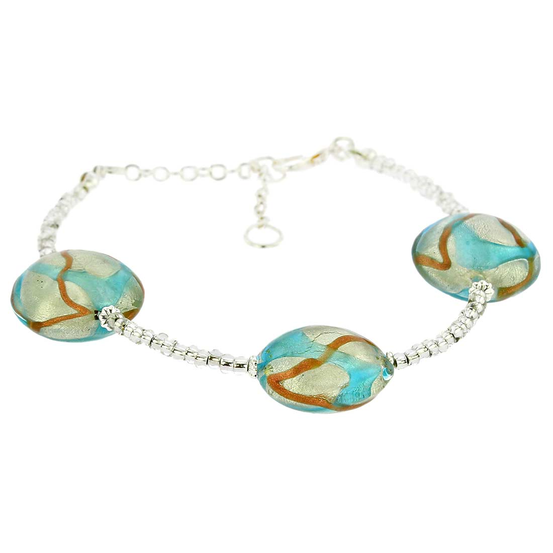 Royal Murano Bracelet - Silver and Aqua