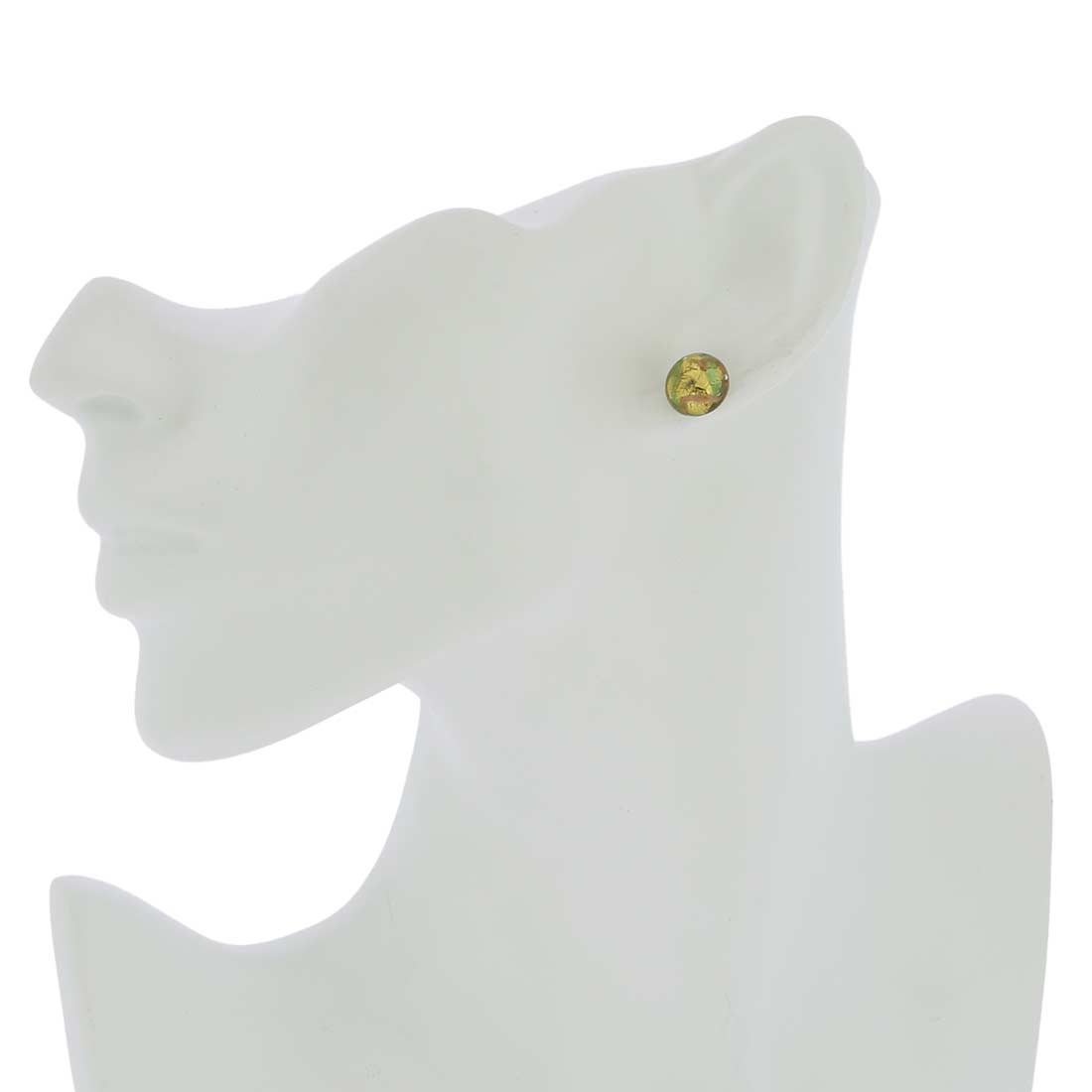 Murano Button Stud Earrings - Gold and Aqua