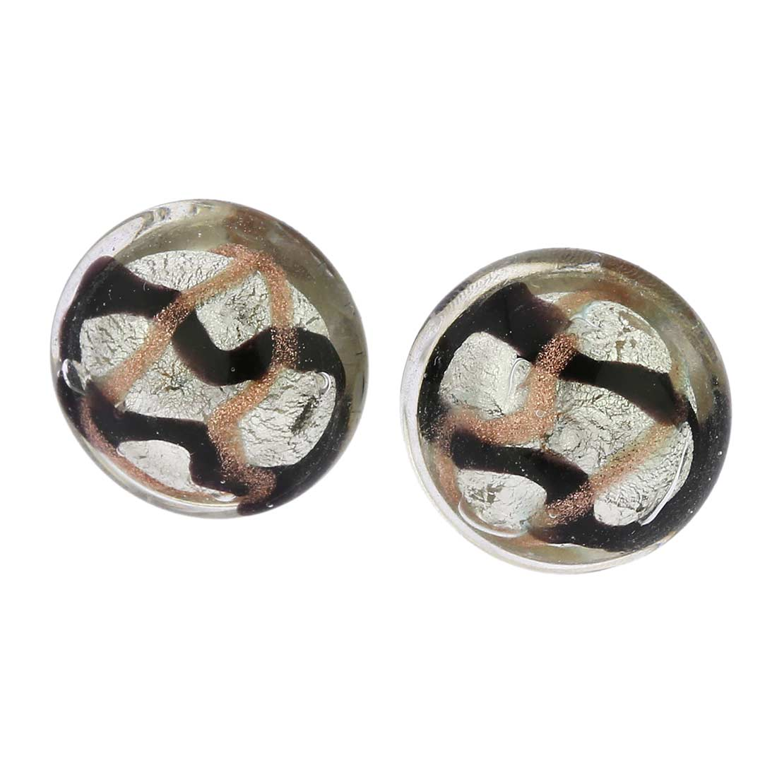 Murano Button Stud Earrings - Black Waves Silver