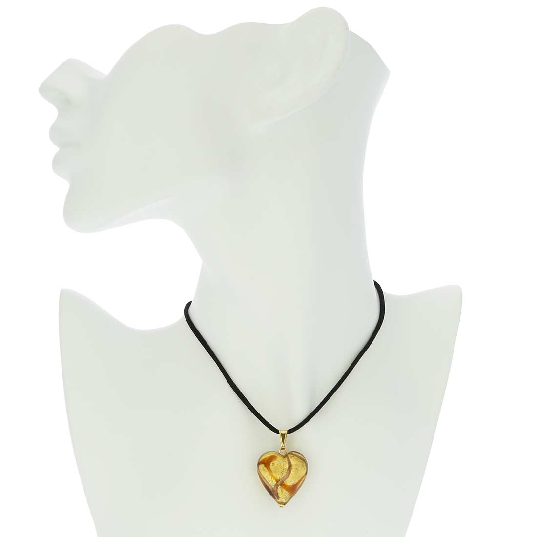 Murano Heart Pendant - Topaz Waves Gold