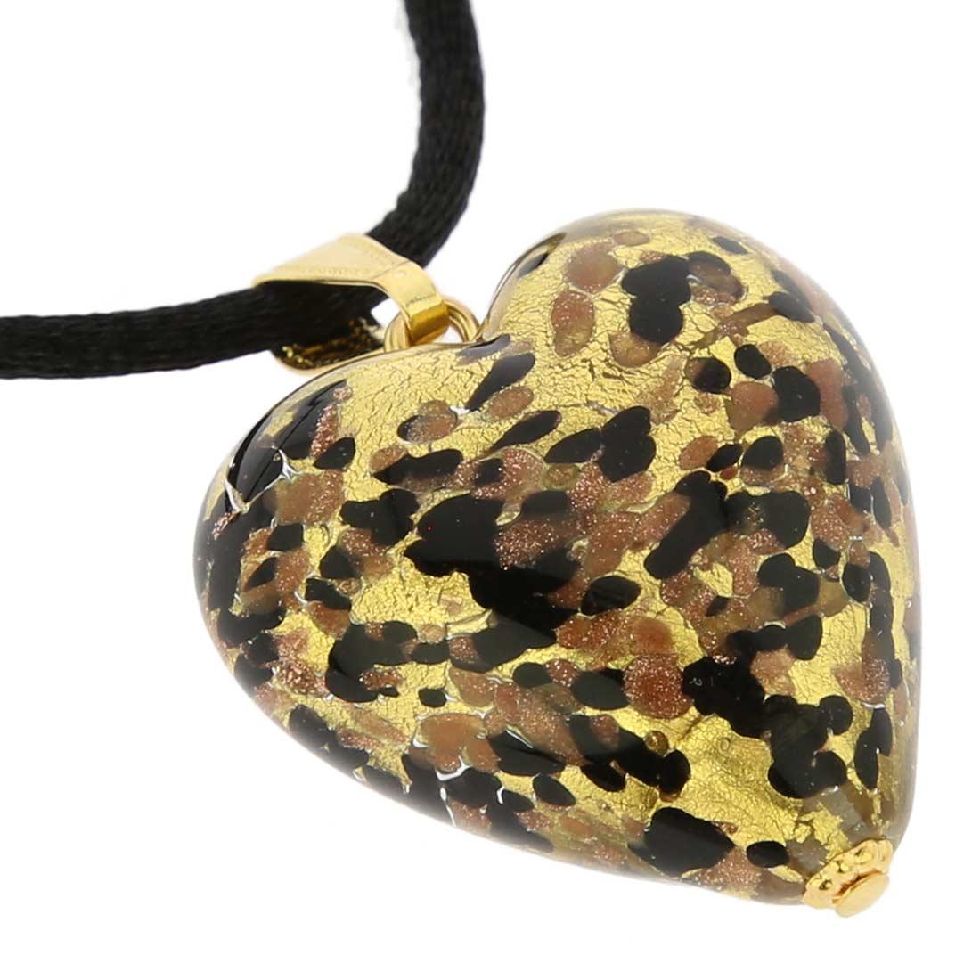 Murano Heart Pendant - Black Gold Confetti