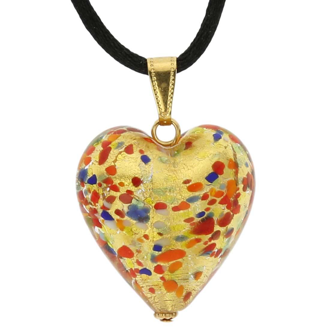 Murano Heart Pendant - Multicolor Confetti