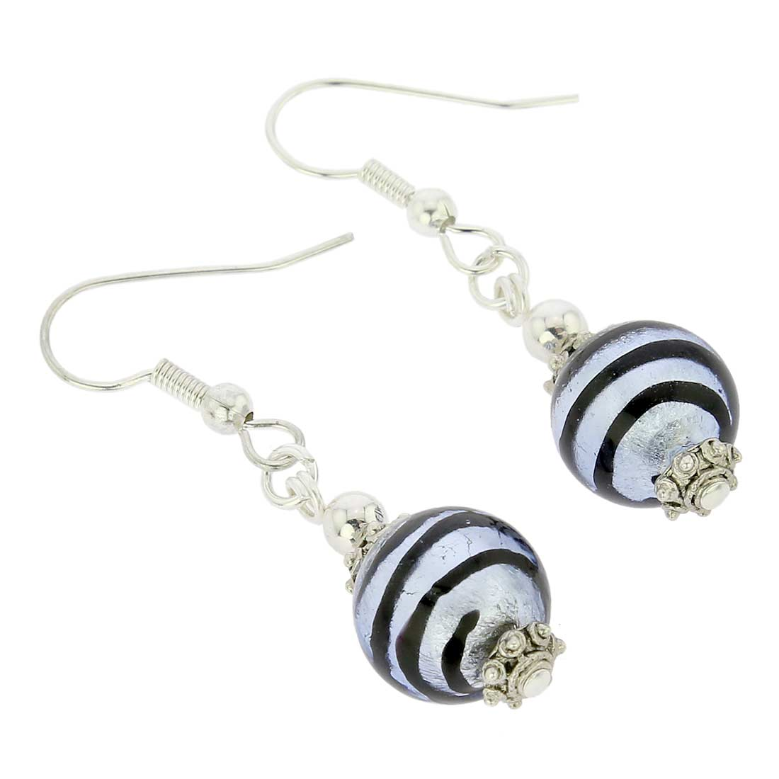 Antico Tesoro Balls Earrings - Striped Silver Blue