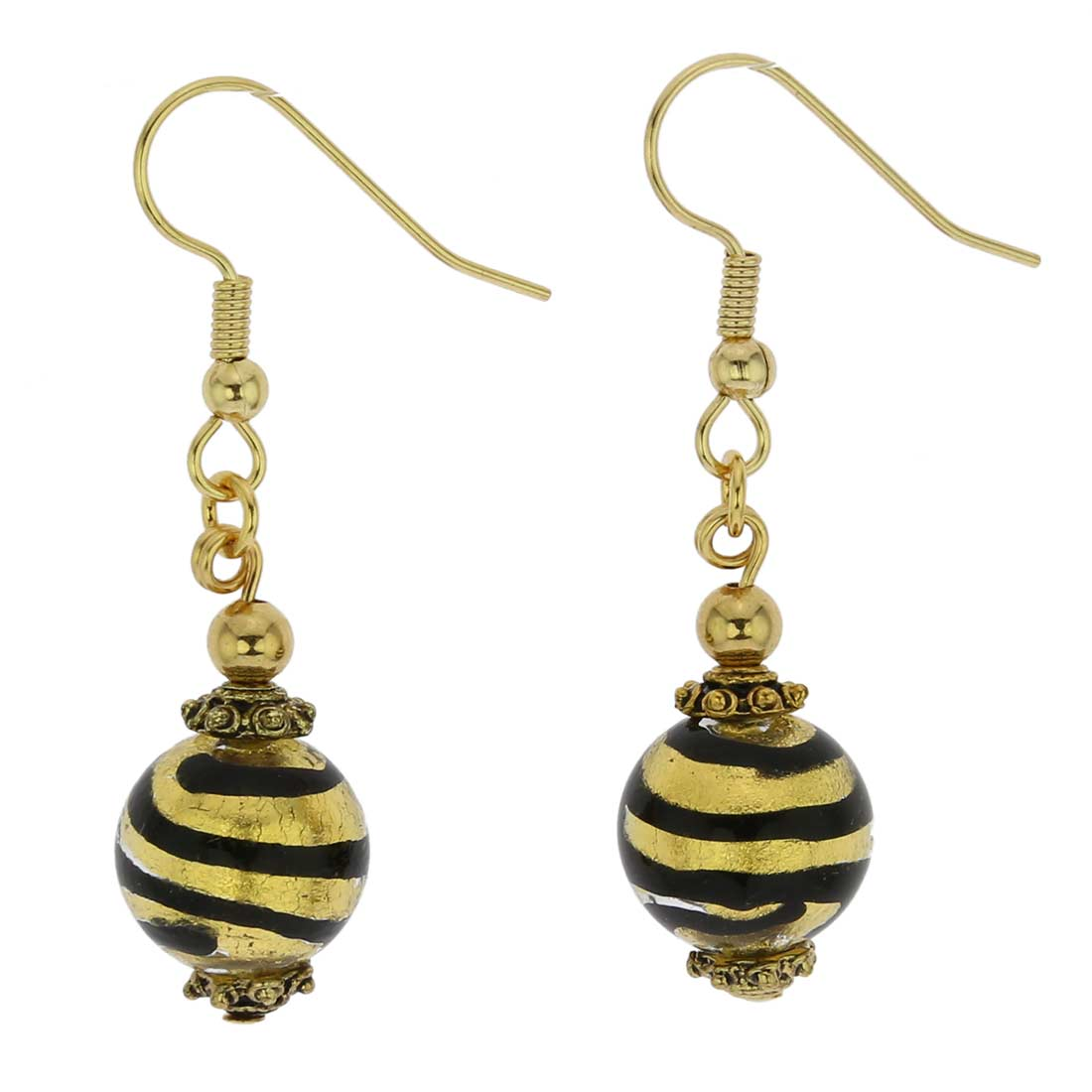 Antico Tesoro Balls Earrings - Striped Gold