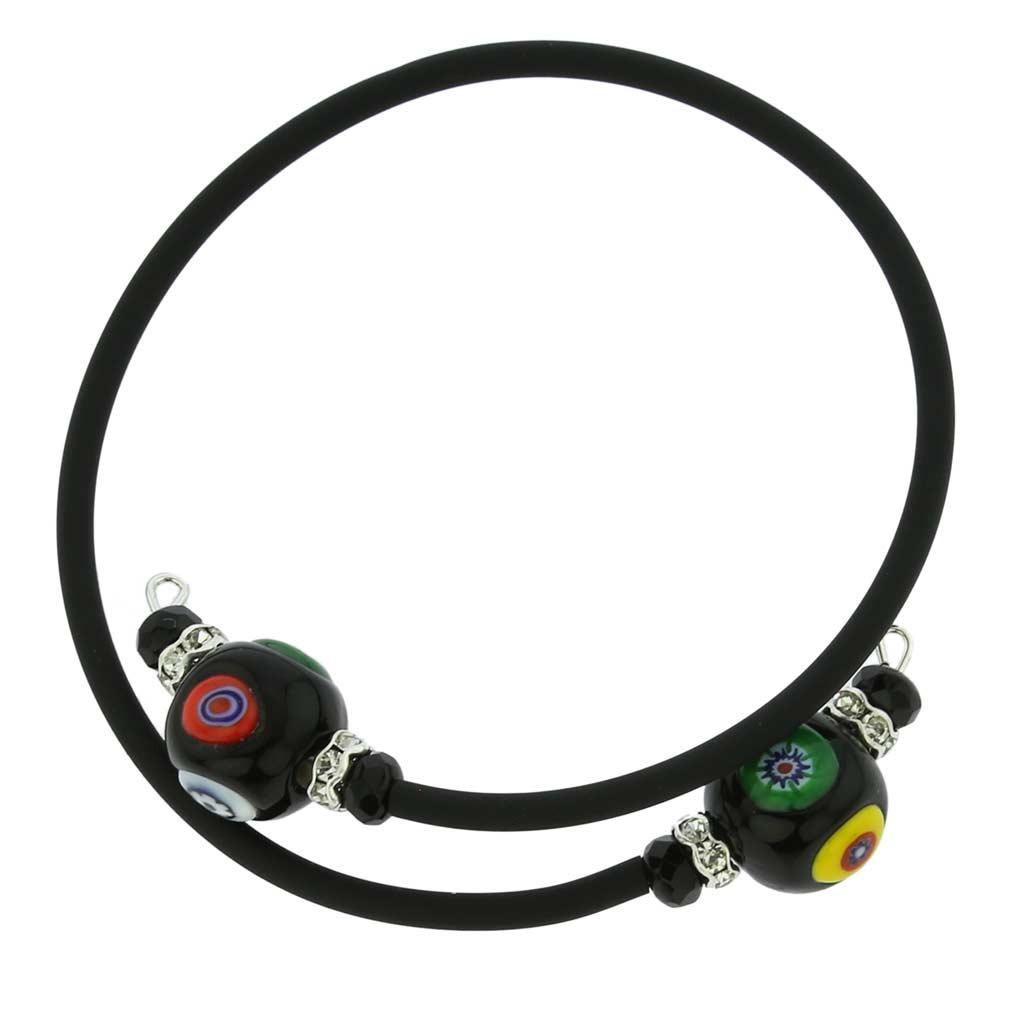 Venetian Glamour Bracelet - Black Millefiori
