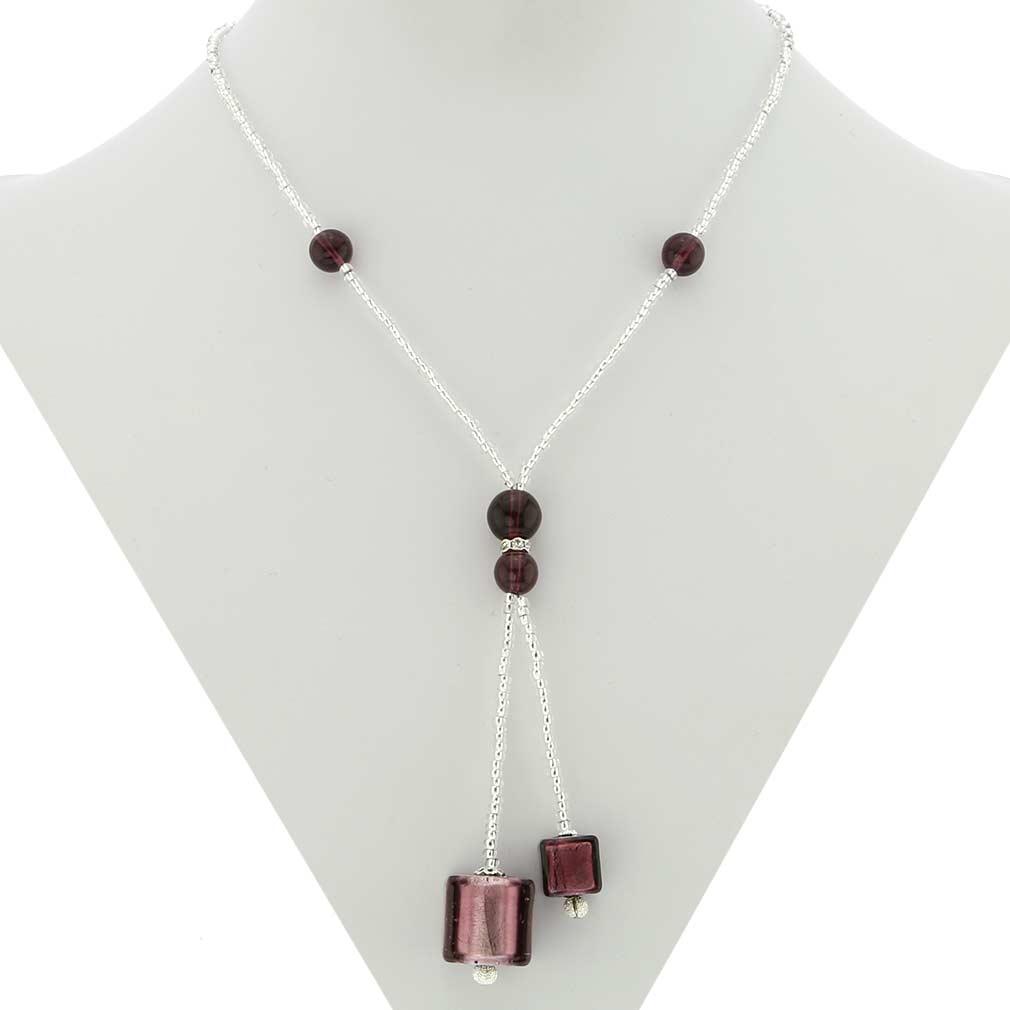 Murano Cubes Tie Necklace - Amethyst