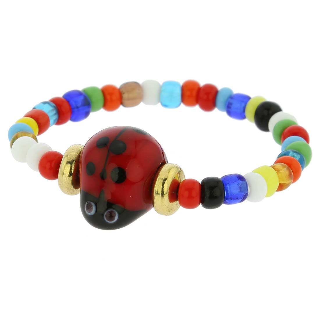 Murano Glass Cute Ladybug Children\'s Bracelet