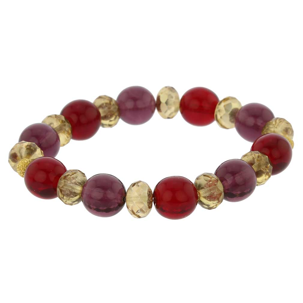 Venetian Queen Children\'s Stretch Bracelet - Red and Purple