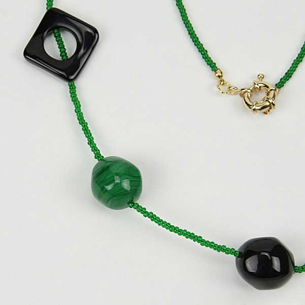 Malachite Treasure Murano Glass Necklace