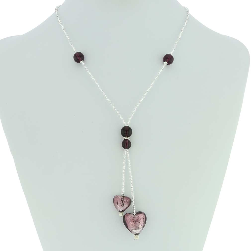 Murano Heart Tie Necklace - Amethyst