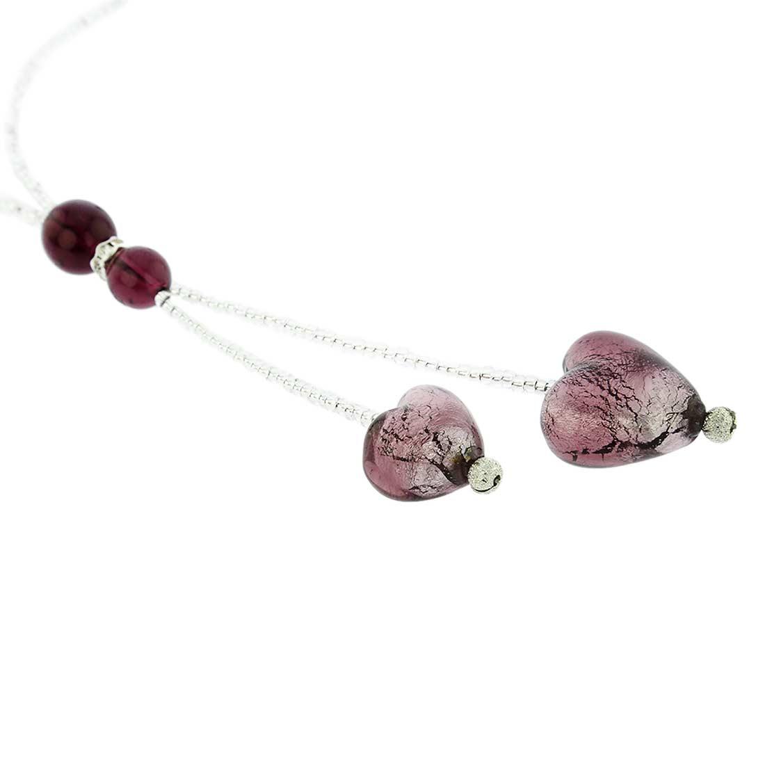 Murano Heart Tie Necklace - Amethyst