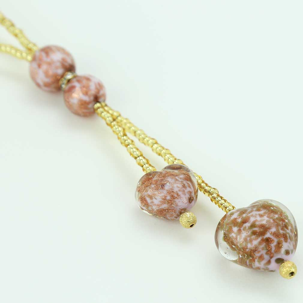 Murano Heart Tie Necklace - Rose Pink