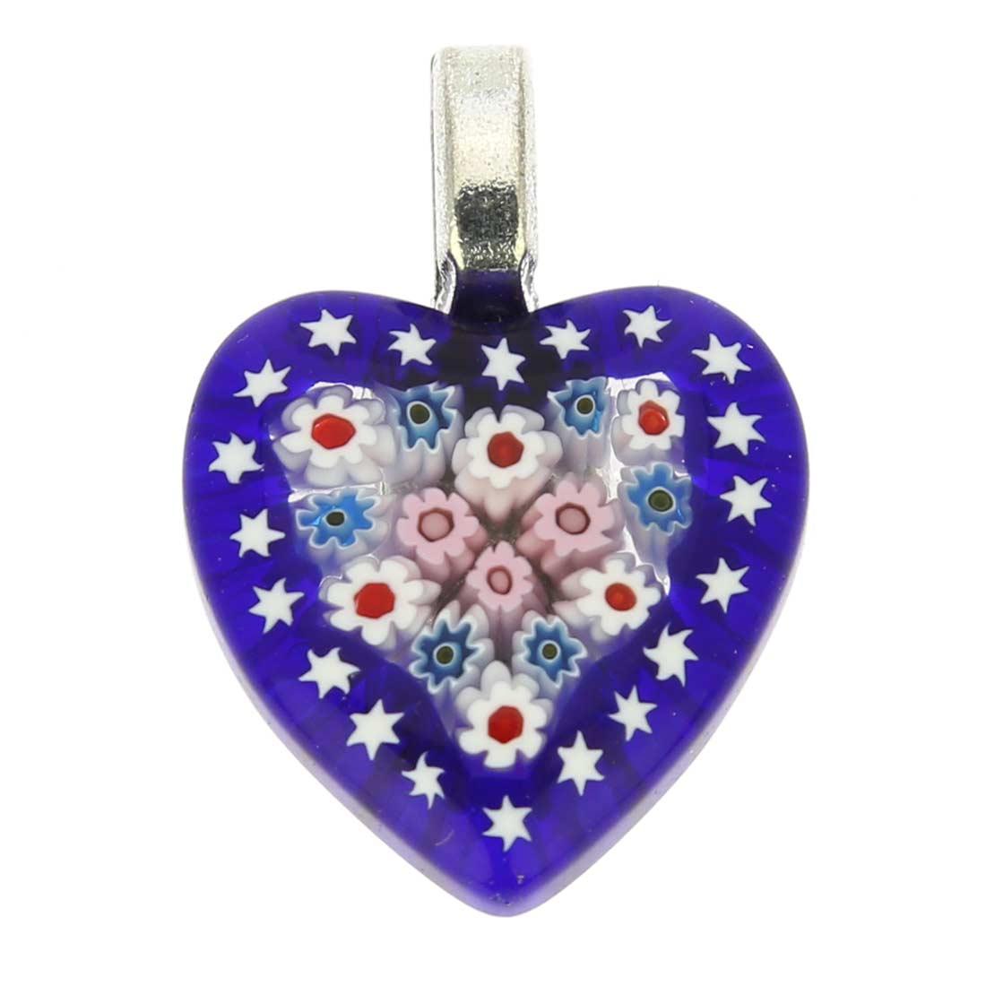 Millefiori Heart Pendant - Navy Blue