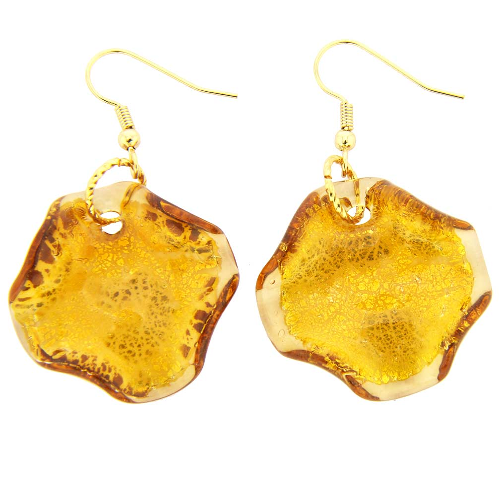 Isola Bella Murano Earrings - Amber Gold