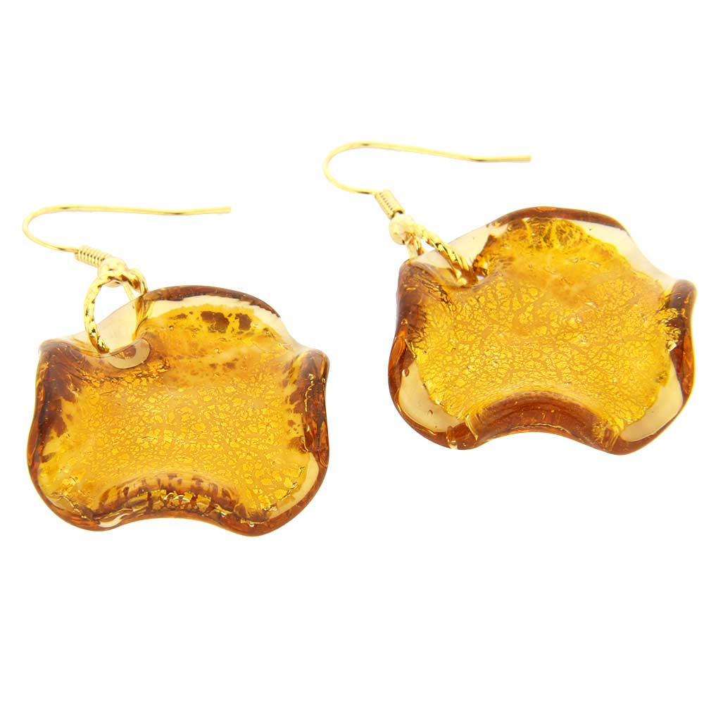 Isola Bella Murano Earrings - Amber Gold