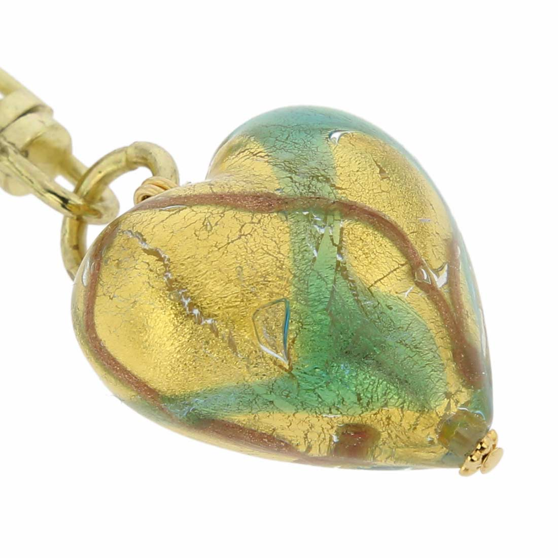 Murano Heart Keychain - Aqua Waves Gold