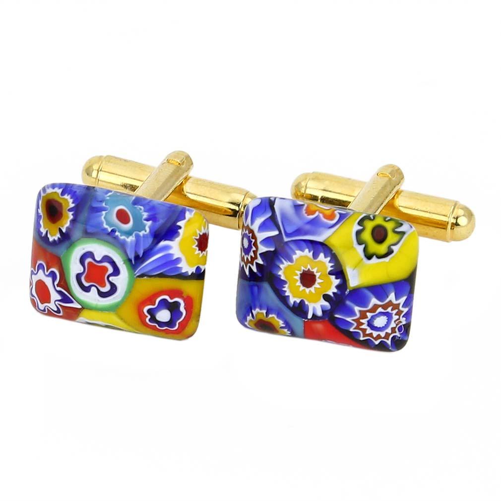 Murano Millefiori Rectangular Cufflinks