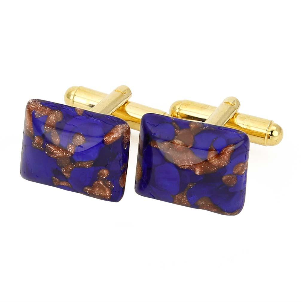 Murano Avventurina Rectangular Cufflinks - Navy Blue