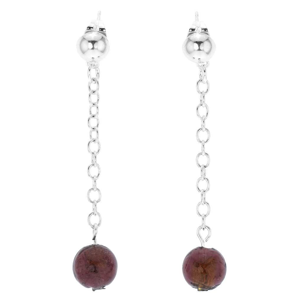 Silver Drops Murano Dangle Earrings - Amethyst
