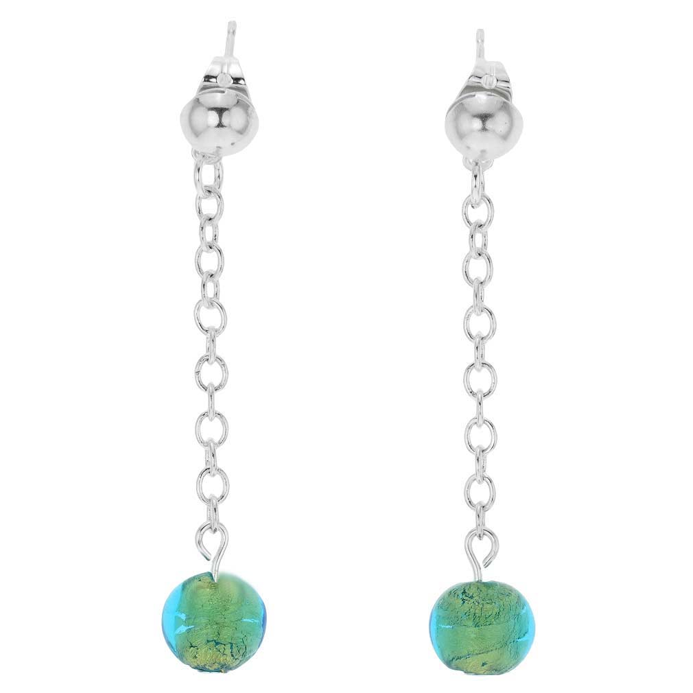 Silver Drops Murano Dangle Earrings - Lime Green