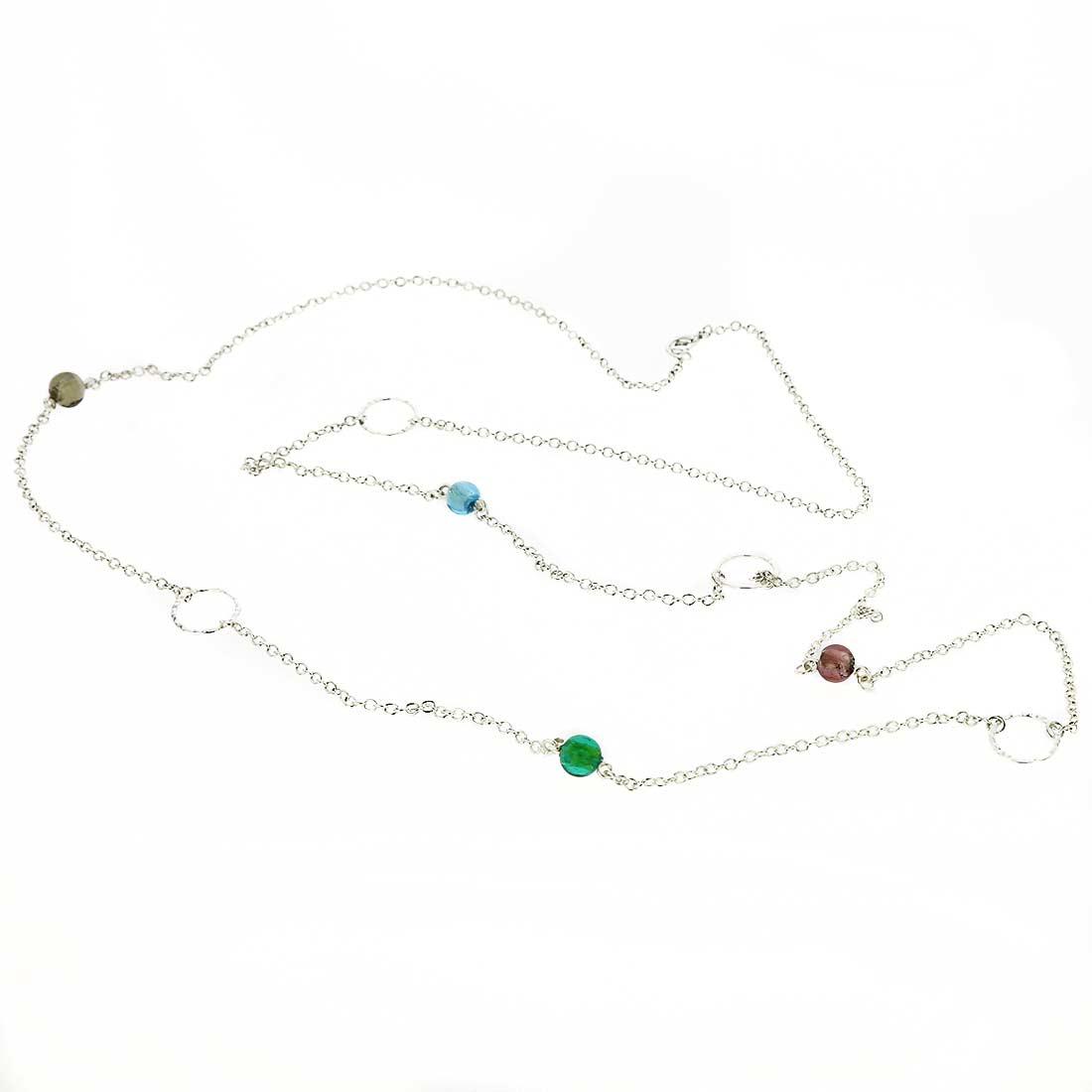 Silver Drops Murano Necklace