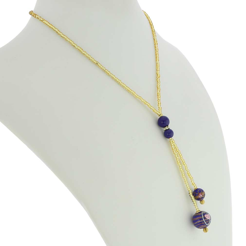 Murano Fiorato Ball Tie Necklace - Cobalt Blue