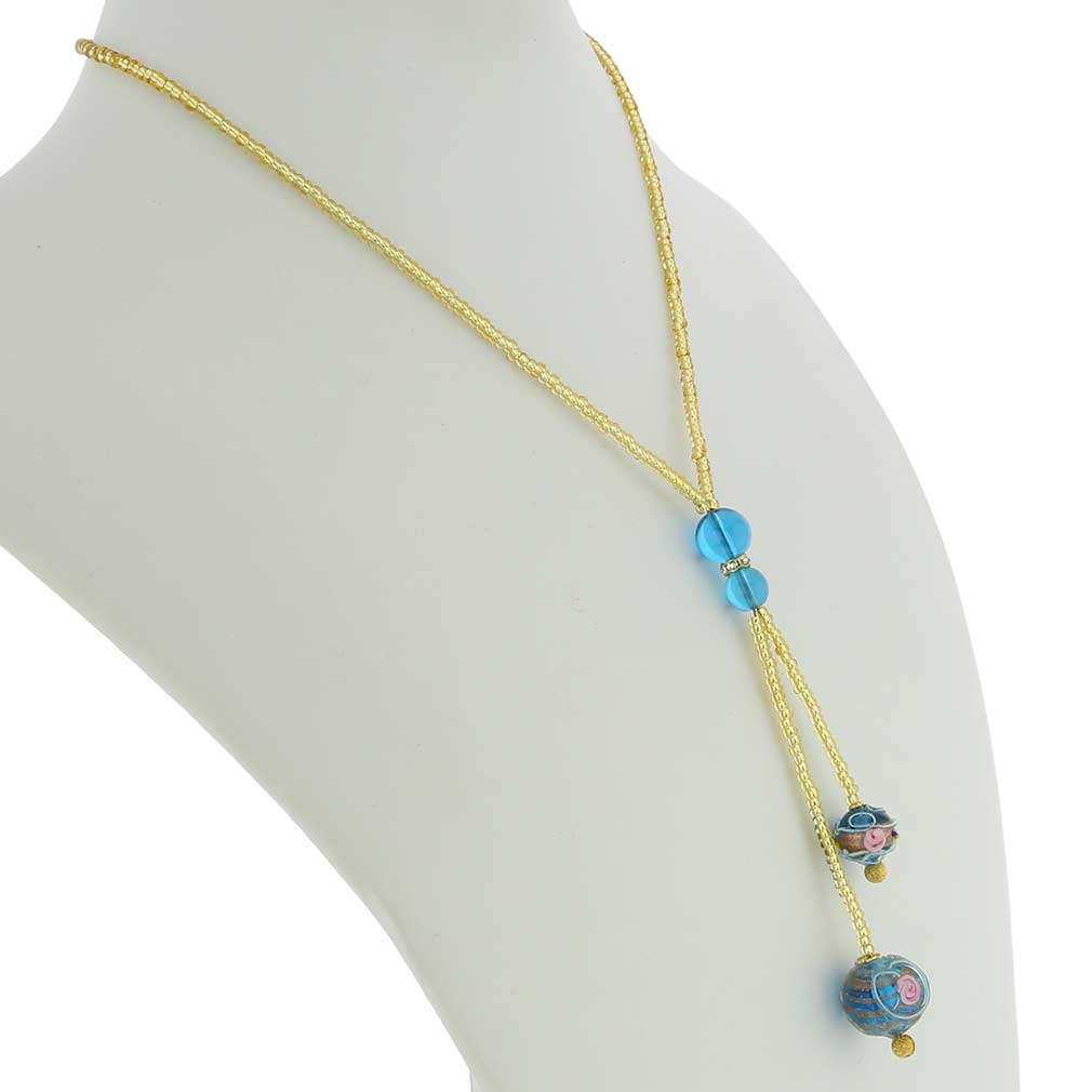 Murano Fiorato Ball Tie Necklace - Sky Blue