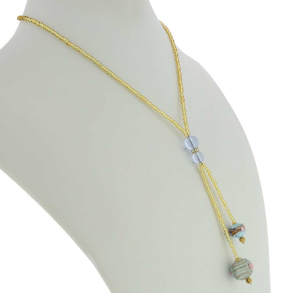 Murano Fiorato Ball Tie Necklace - Aqua