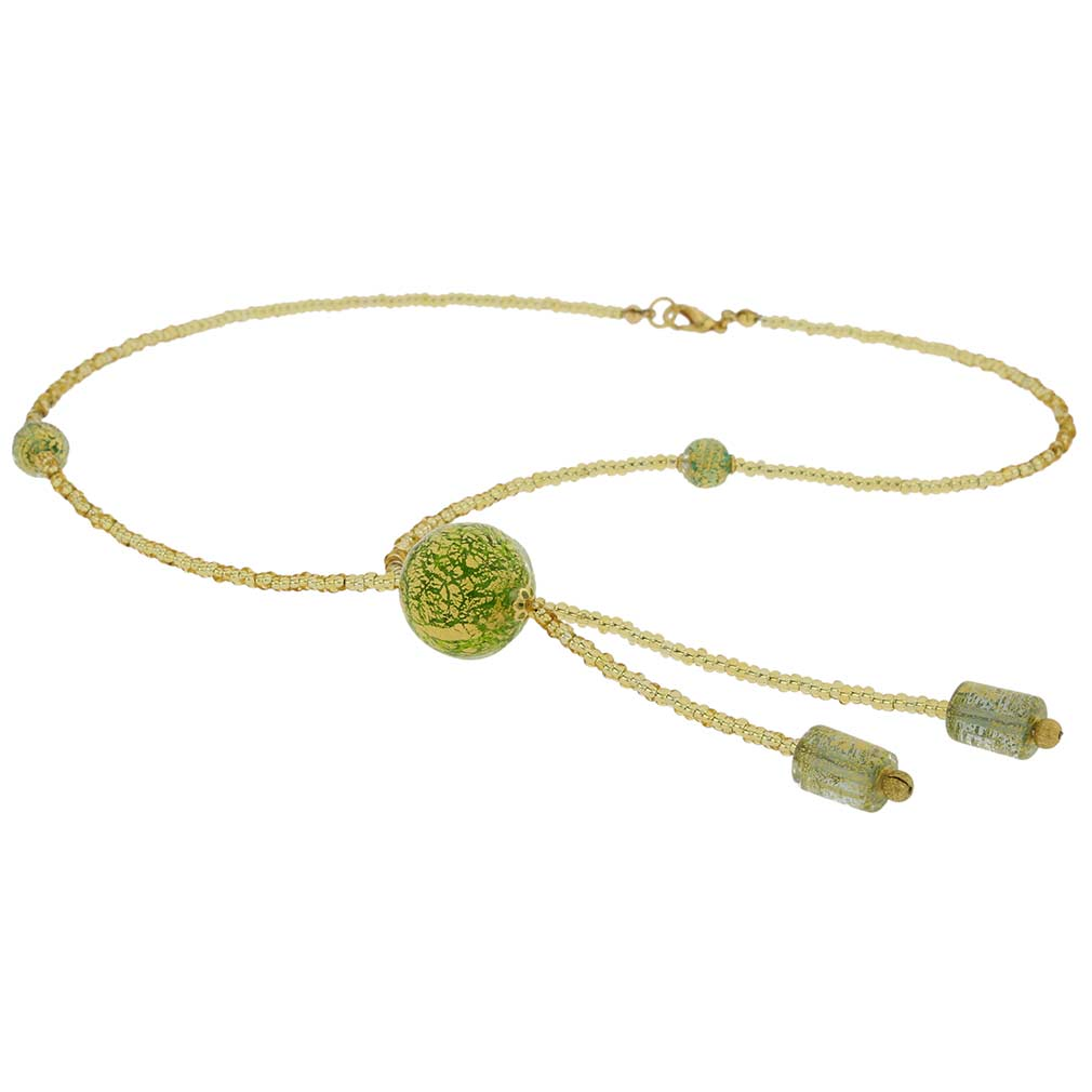 Murano Ball Tie Necklace - Green And Gold