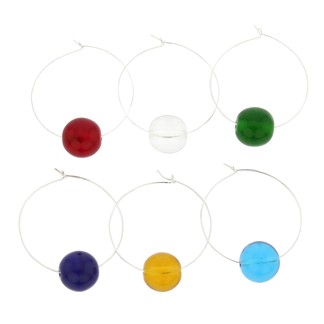Murano Glass Rainbow Wine Glass Charms Set of 6