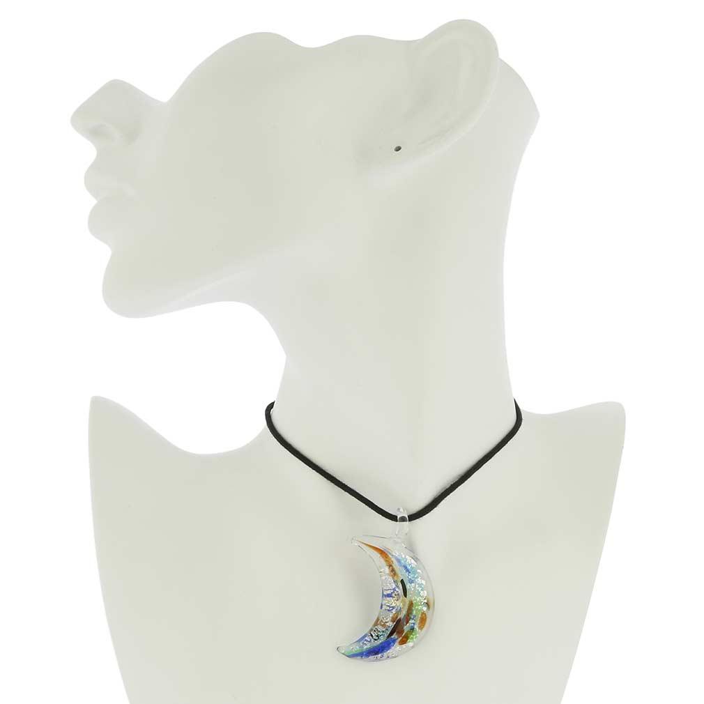 Kaleidoscope moon-shaped pendant