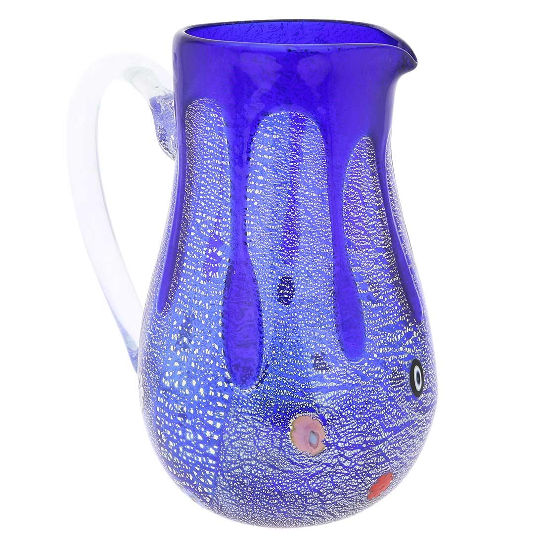 Murano Glass Carafe - Silver Lava Blue