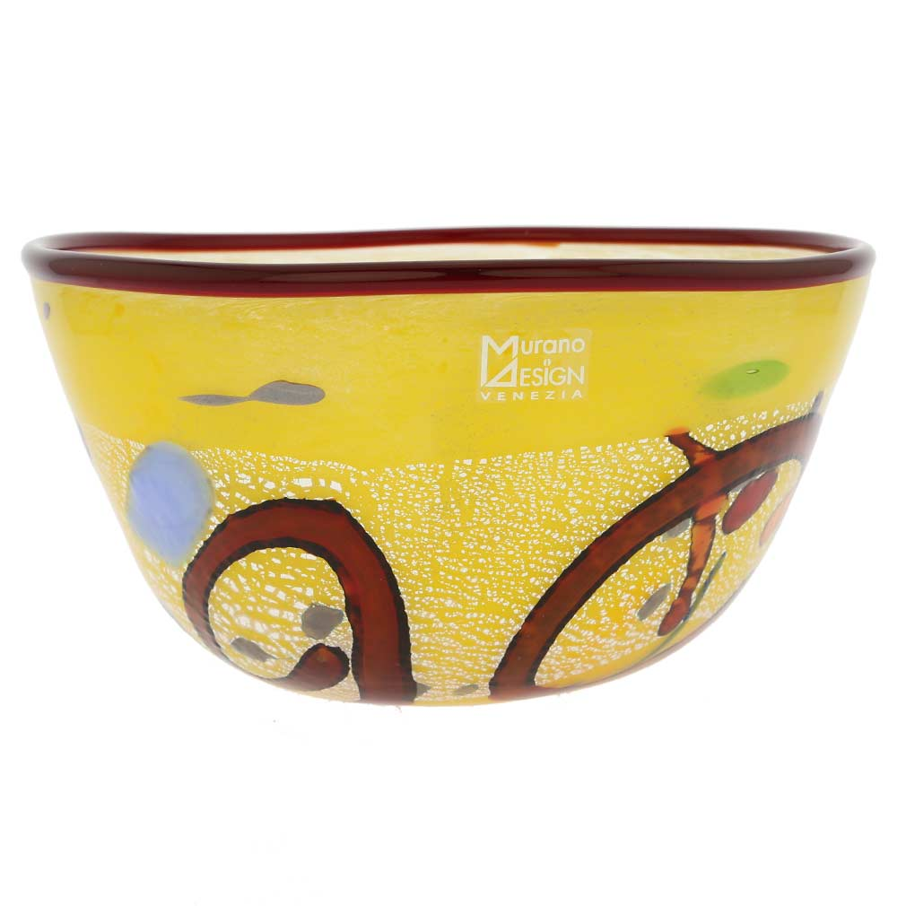 Modern Art Murano Glass Bowl - Yellow