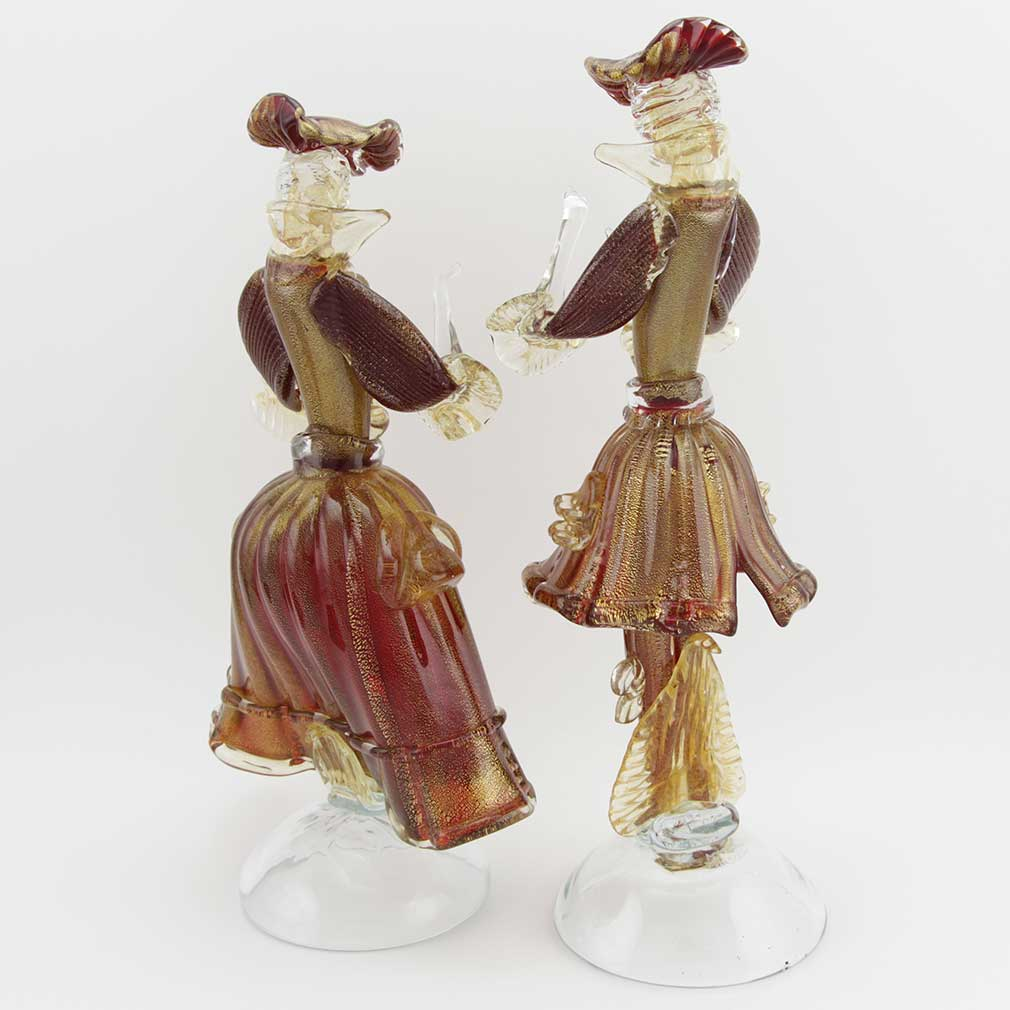 Venetian Goldonian Couple - Red and Gold