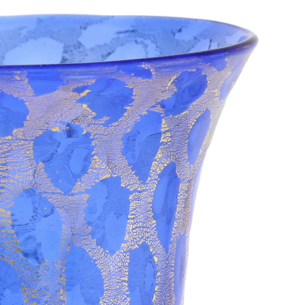 Murano Glass Goblet - Blue and Gold